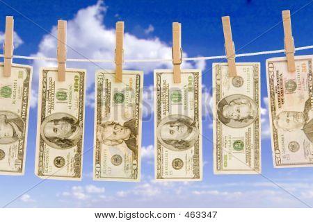 Money On Clothes Line Sky Closeup
