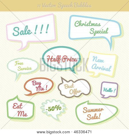 Collection of colorful speech bubbles Dialog Set