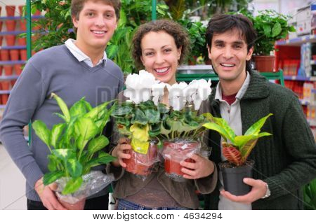 Three Friends In Shop Holds Pots With Plants In Shop