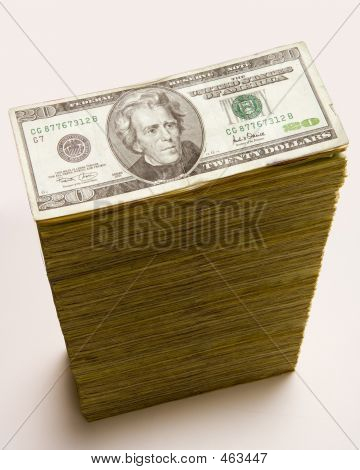 Cash Stack Of 20 Dollar Bills