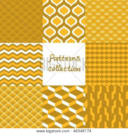 Abstract art deco geometric seamless patterns set in shades of gold, vector