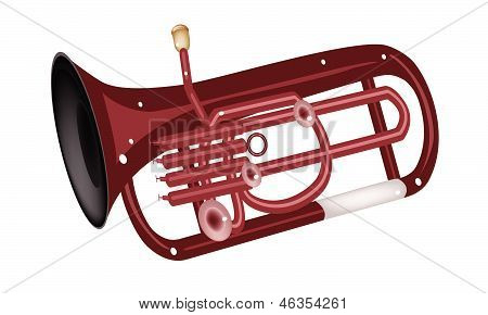 A Musical Euphonium Isolated On White Background