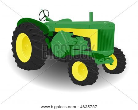 Green And Yellow Tractor With Big Tyres