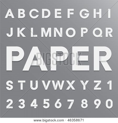 White Paper Alphabet With Shadow