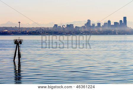 Channel Marker Seattle Skyline Puget Sound Cascade Mountains Washington State