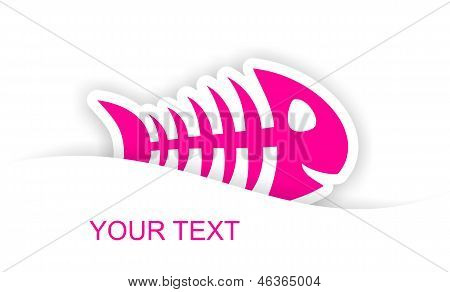 pink fish bone sticker notification with light shadow effect poster
