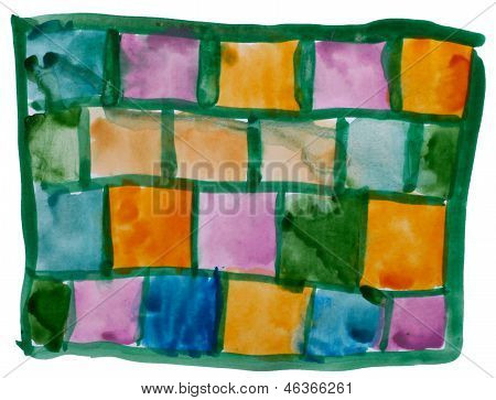 art green, yellow, square watercolor isolated for your design