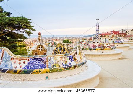 Colorful Mosaic Bench Of Park Guell, Designed By Gaudi, In Barcelona, Spain