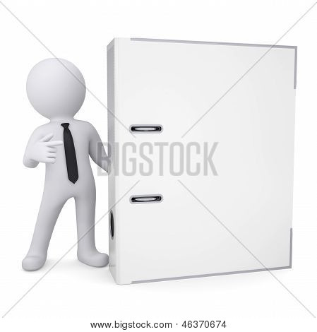 3d white man points a finger at the office folder