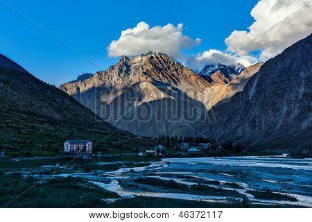 Jispa village in Himalayas on sunset. Lahaul valley, Himachal Pradesh, India