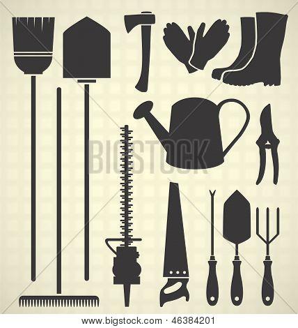 Vector Set: Gardening Tool Silhouettes