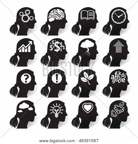 Thinking heads. Vector icon set.