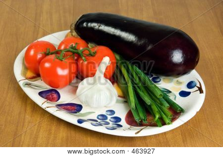 Selection Of Fresh Vegetables On A Plate. 2