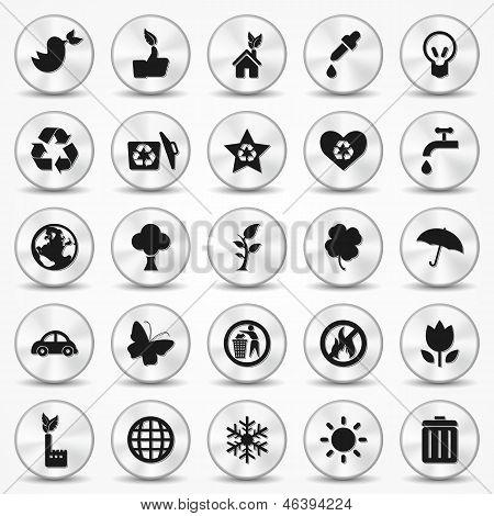 Aluminium Ecology icons set. Environment Symbols