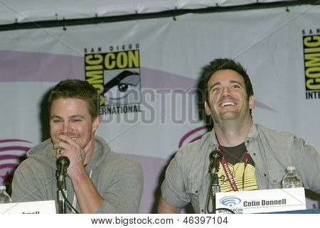 ANAHEIM, CA - MARCH 31: Stephen Amell and Collin Donnell participate in a panel discussion at the 2013 Wondercon convention on March 31, 2013 in Anaheim, CA.