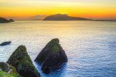Sunset over Dunquin bay on Dingle Peninsula, Co.Kerry, Ireland poster