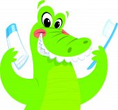 Happy green crocodile is smiling while holding a toothbrush and a toothpaste poster