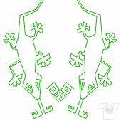 Unisex T-shirt design. Two green lizards on white. poster