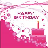 A birthday cake with one candle a Happy Birthday text and bubbles and swirls elements poster