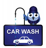 Comical Car Wash Sign isolated on white background poster