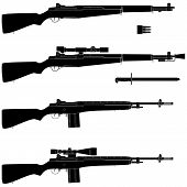 Layered vector illustration of collected Rifle with white background. poster