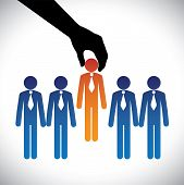 Concept vector graphic- hiring(selecting) the best job candidate. The graphic shows company making a choice of person with right skills for the job among many candidates competing for the same post poster