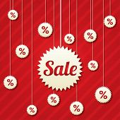 Sale poster with percent discount (vector). Abstract sale background. Shopping modern icons. poster