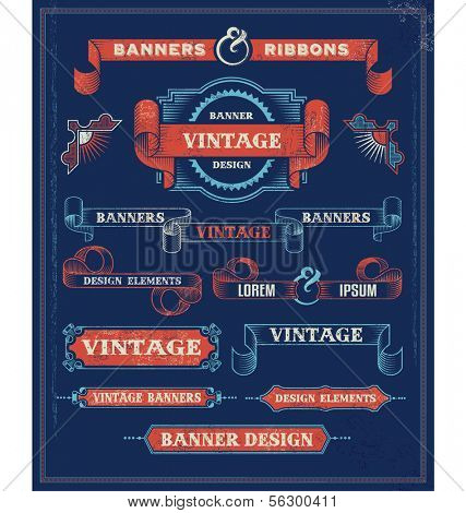 Vintage Banners and Ribbon Design Elements. Retro Vector Background with removable textures.