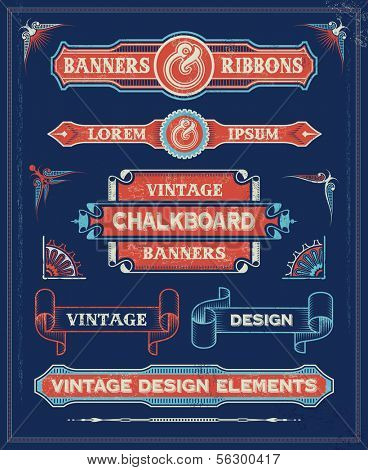 Vintage Banners and Ribbon Design Elements. Hand Drawn Retro Vector Background with removable textures.