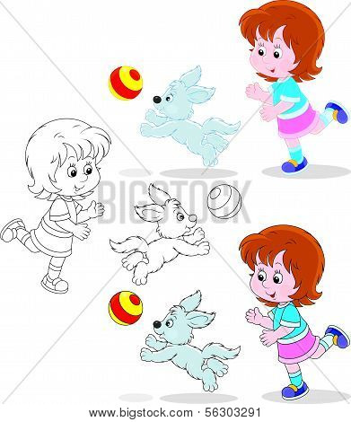 Little girl playing a ball with her pup, three versions of the illustration poster