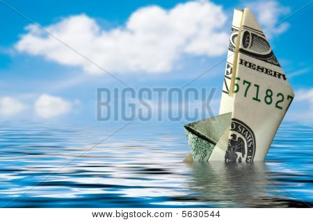 Concept Of Crisis. Money Ship In Water