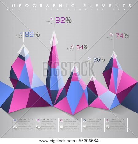 low poly style vector abstract chart infographic elements poster