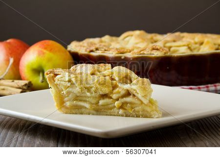 Slice Of Apple Pie With Copy Space, Horizontal