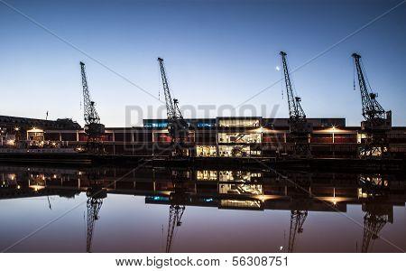 Bristol Docks, England, United Kingdom By Moon Light
