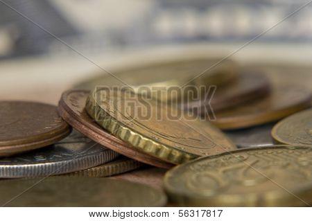 Different Coins Taken Closeup.