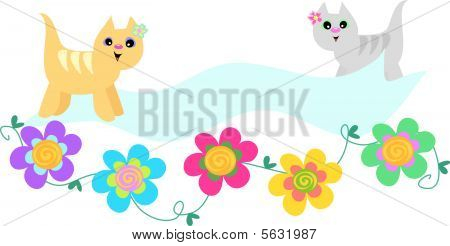 Two Cats are surrounded by a handy banner and flowers. poster