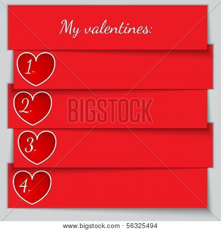 Vector red paper enumerated valentine list