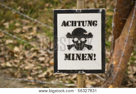Warning Sign With German Text Watch Out Mines
