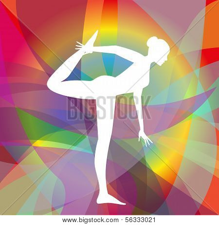 vector white Athlete silhouette on abstract  background poster