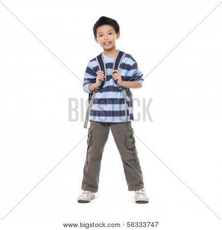 happy teenager boy preparing to school