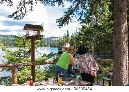 Friendship : Healthy Active Senior Women On Outing At Lake