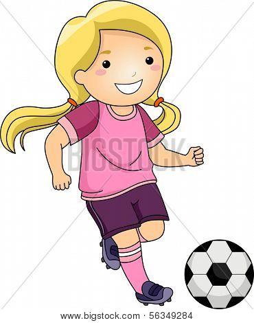 Illustration of a Little Girl Kicking a Soccer Ball