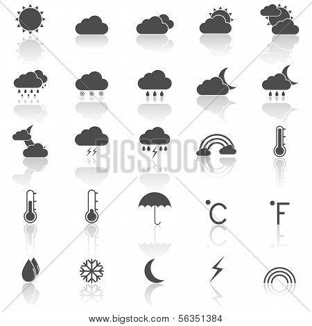 Wettersymbole mit spiegeln auf weißem Hintergrund