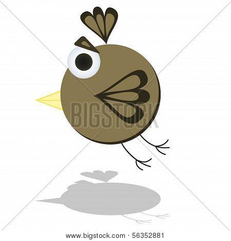 Funny Flying Little Cartoon Bird Vector Illustration