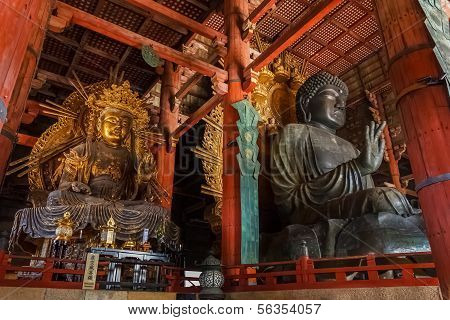 Daibutsu with Kokuzo Bosatsu at Todaiji Temple in Nara