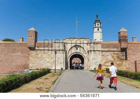 BELGRADE, SERBIA - AUG 15: Tourists in front of Stambol gate of Belgrade fortress on August 15, 2012 in Belgrade, Serbia. It is popular, unique museum of the history of Belgrade.