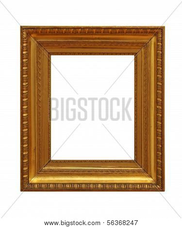 weathered golden picture frame 03, isolated on white