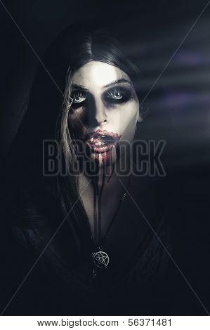 Scary Undead Zombie Girl Lurking In Dark Shadows