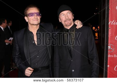 PALM SPRINGS - JAN 4:  Bono, The Edge at the Palm Springs Film Festival Gala at Palm Springs Convention Center on January 4, 2014 in Palm Springs, CA