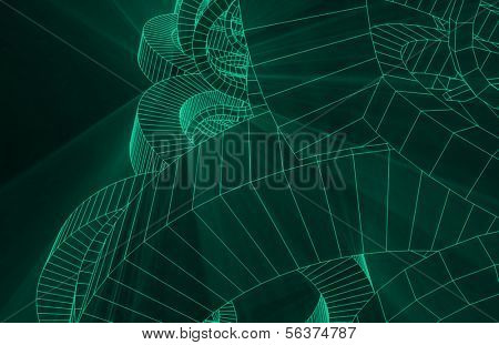 Wireframe Abstract with Geometric Glowing Line or Lines